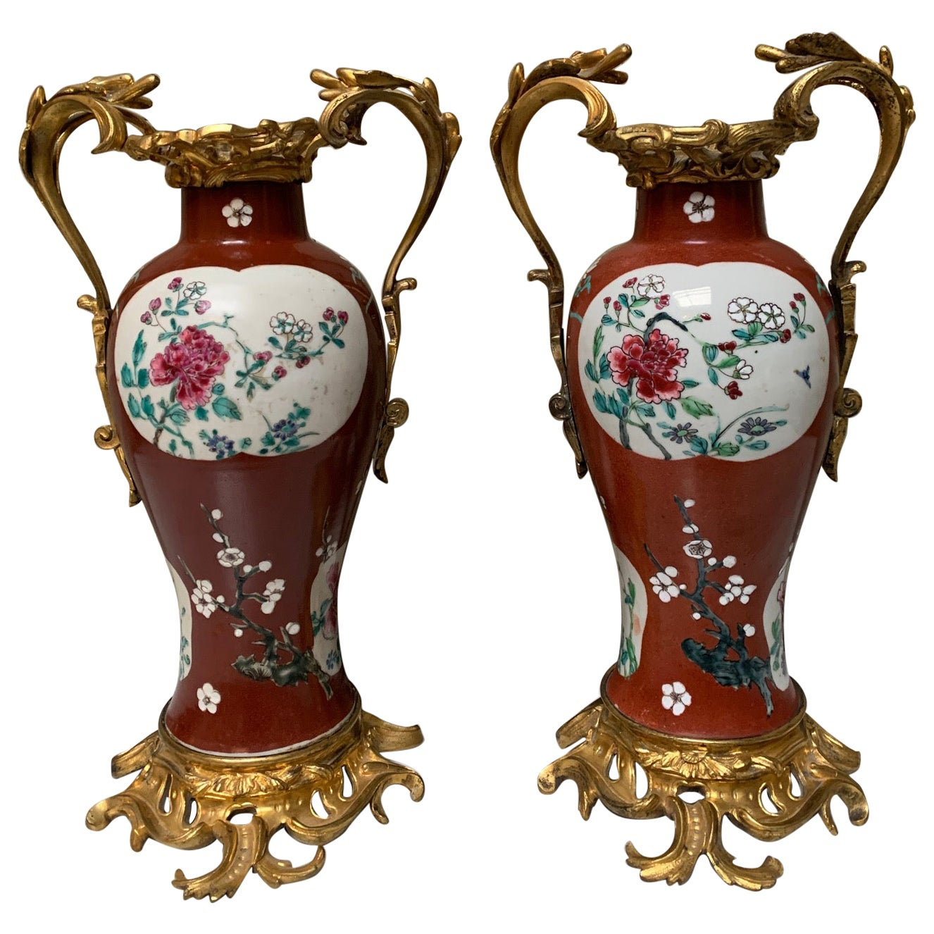 Pair of 19th Century Red Chinese Porcelain Vases with French Bronze Mounts