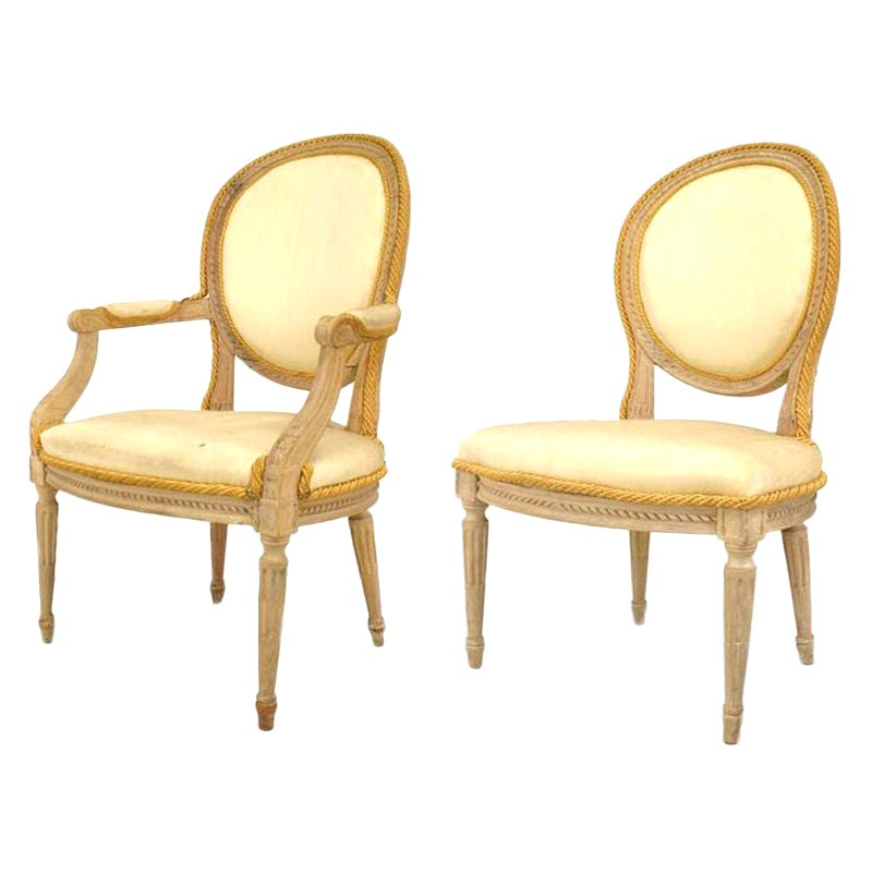 Set of 10 French Louis XVI Stripped Bleach Dining Chairs