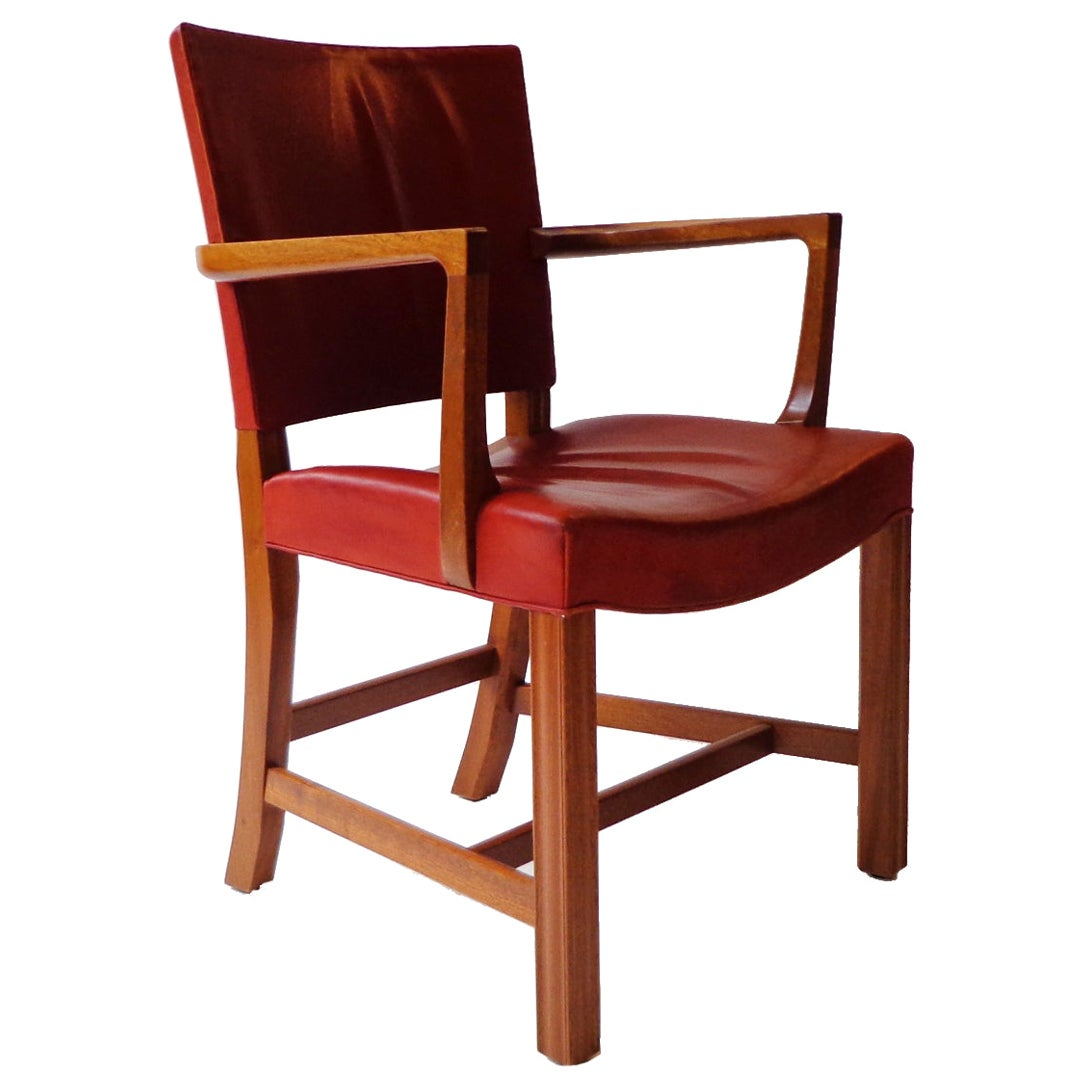 Kaare Klint Armchair in indian red leather and mahogany by Rud Rasmussens, 1940s