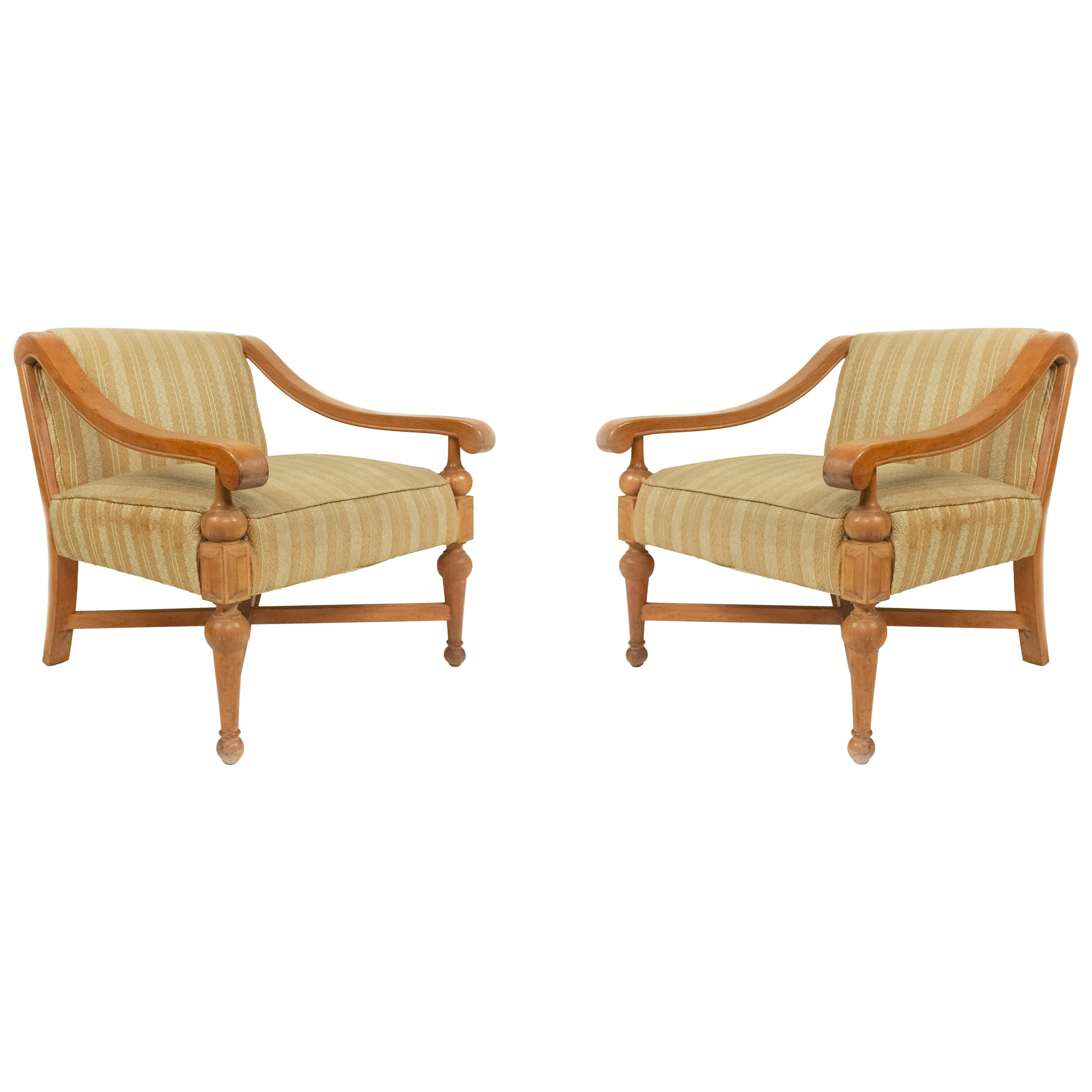 Midcentury Sycamore Upholstered Armchairs