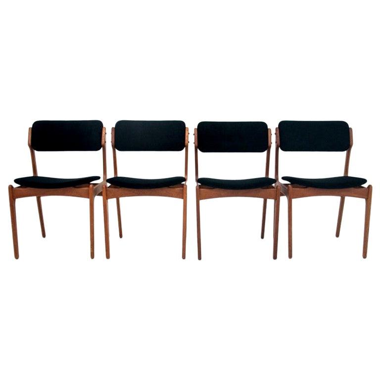 Set of Four Teak Chairs Danish Designed by Erik Buch, Model 49