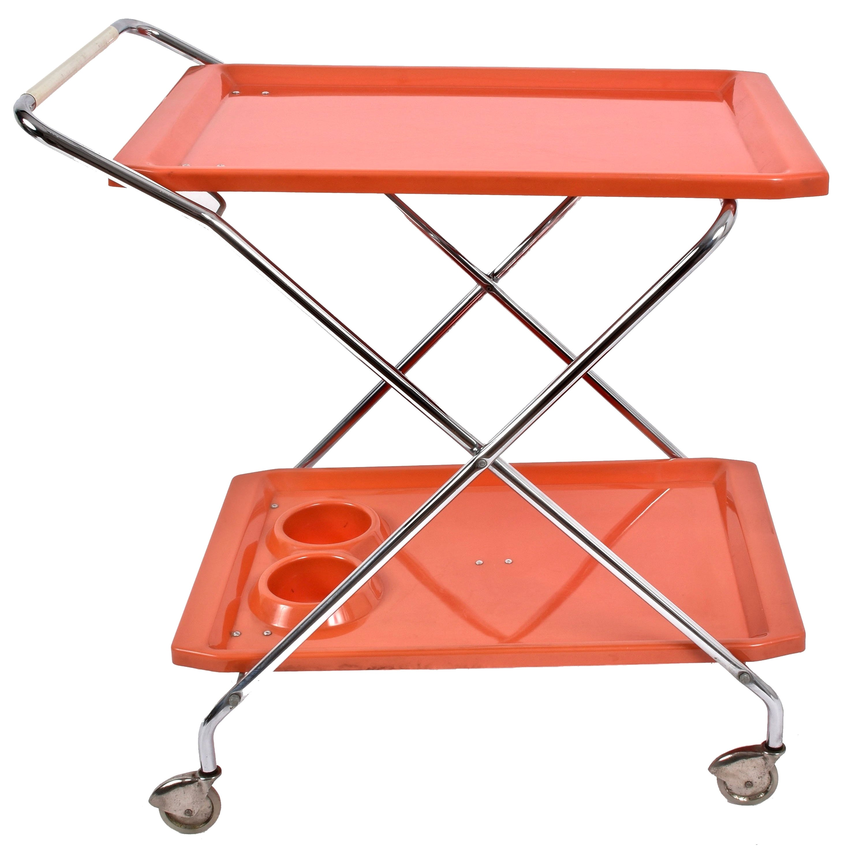 Midcentury Orange Plastic and Chromed Metal Italian Foldable Bar Cart, 1950s