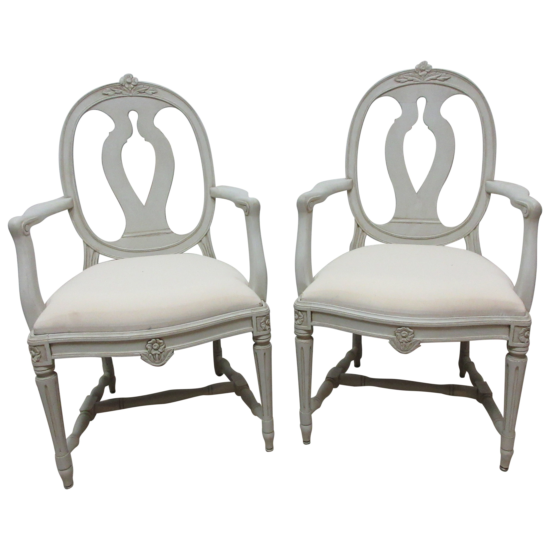 2 Swedish Gustavian Armchairs