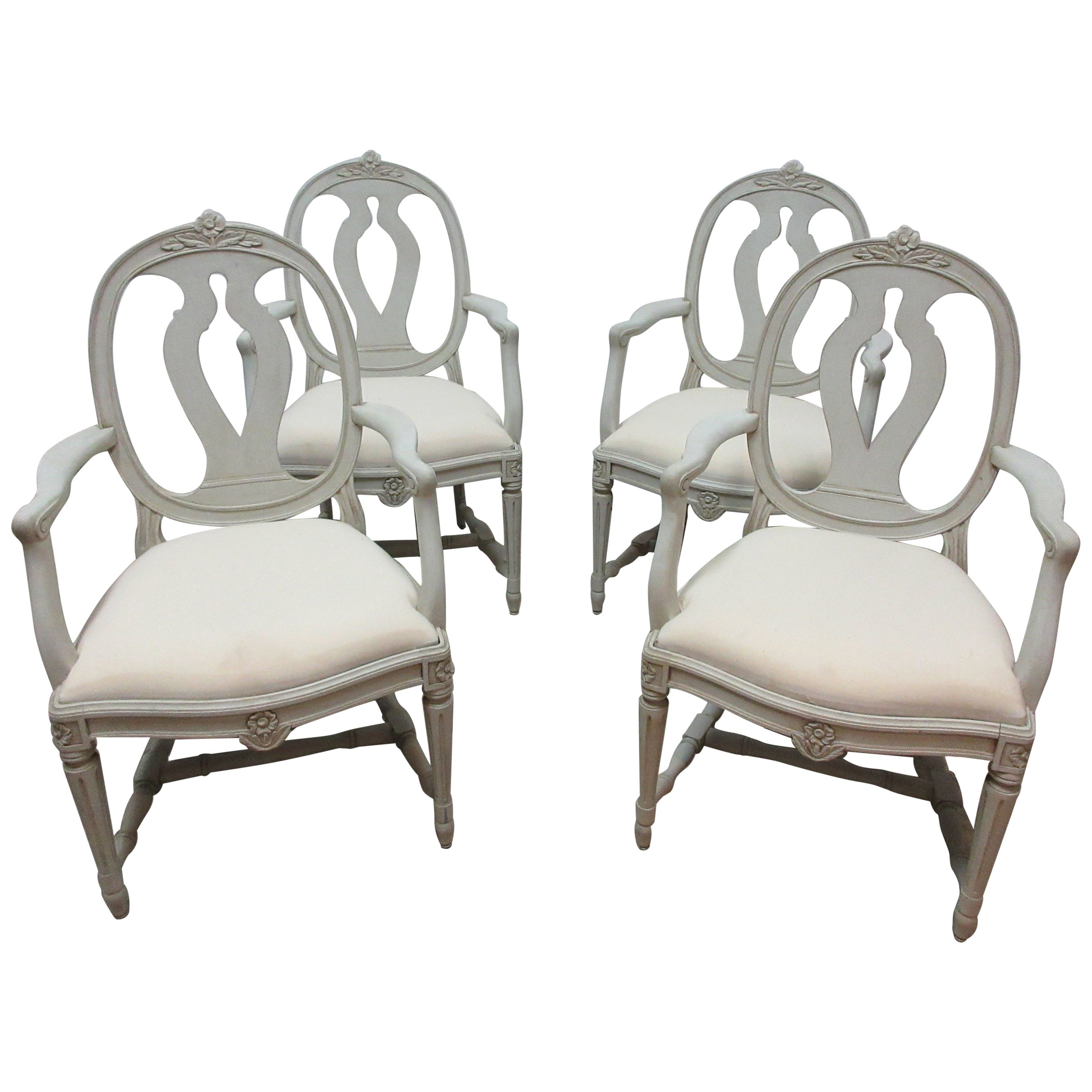 Set of 4 Swedish Gustavian Armchairs