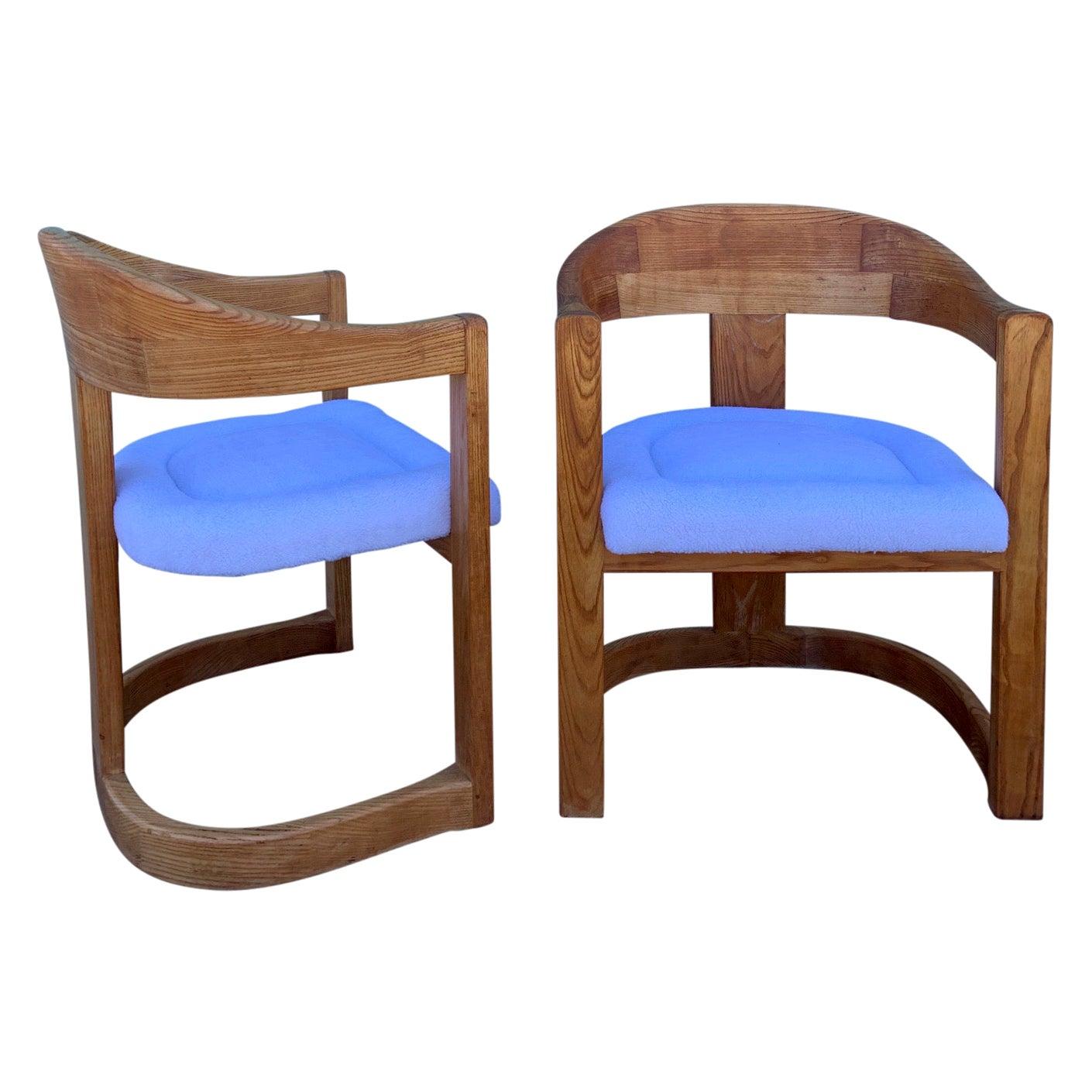 Pair of Oak Onassis Chairs by Karl Springer Mid-Century Modern