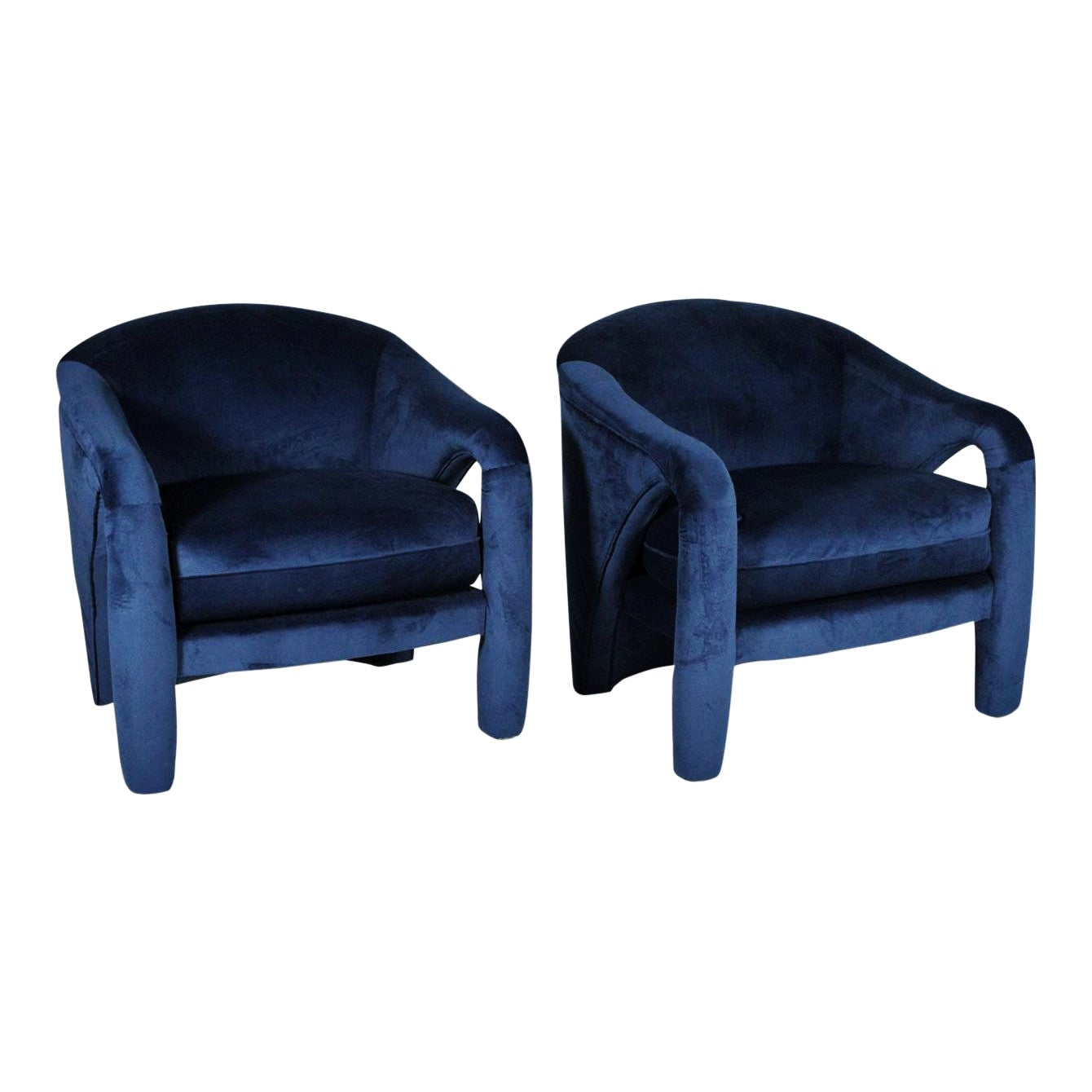 Pair of Blue Velvet Sculptural Lounge Chairs by Weiman