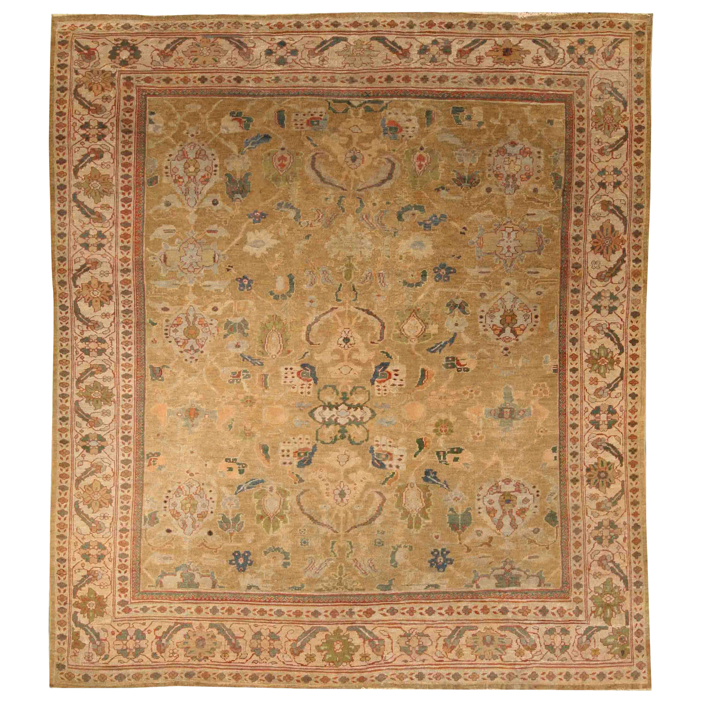 Antique Persian Sultanabad Beige Handwoven Wool Rug