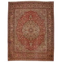 Haji Khalili Antique Persian Tabriz Rug with Art Nouveau and Jacobean Style