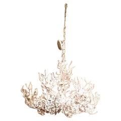 Midcentury White Iron Faux Coral Chandelier