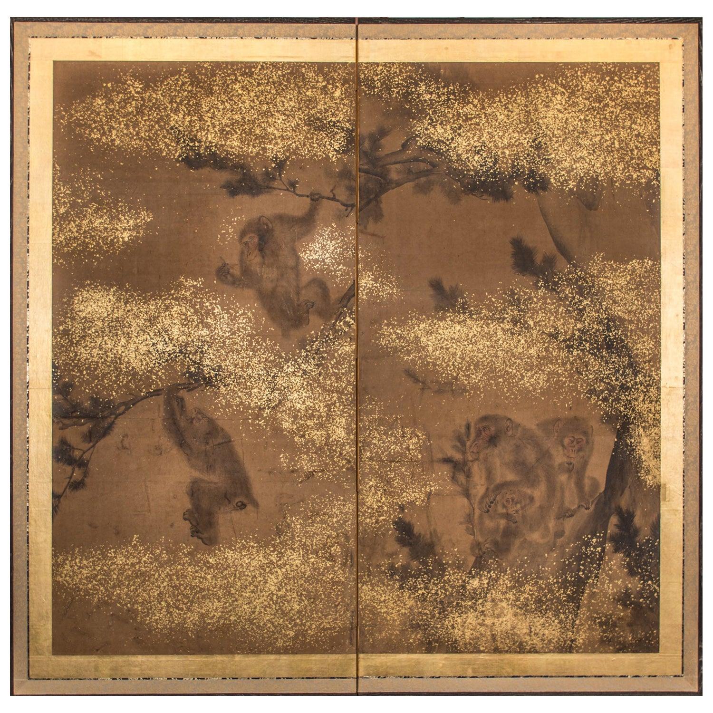 Japanese Two-Panel Screen Troop of Monkeys in a Tree
