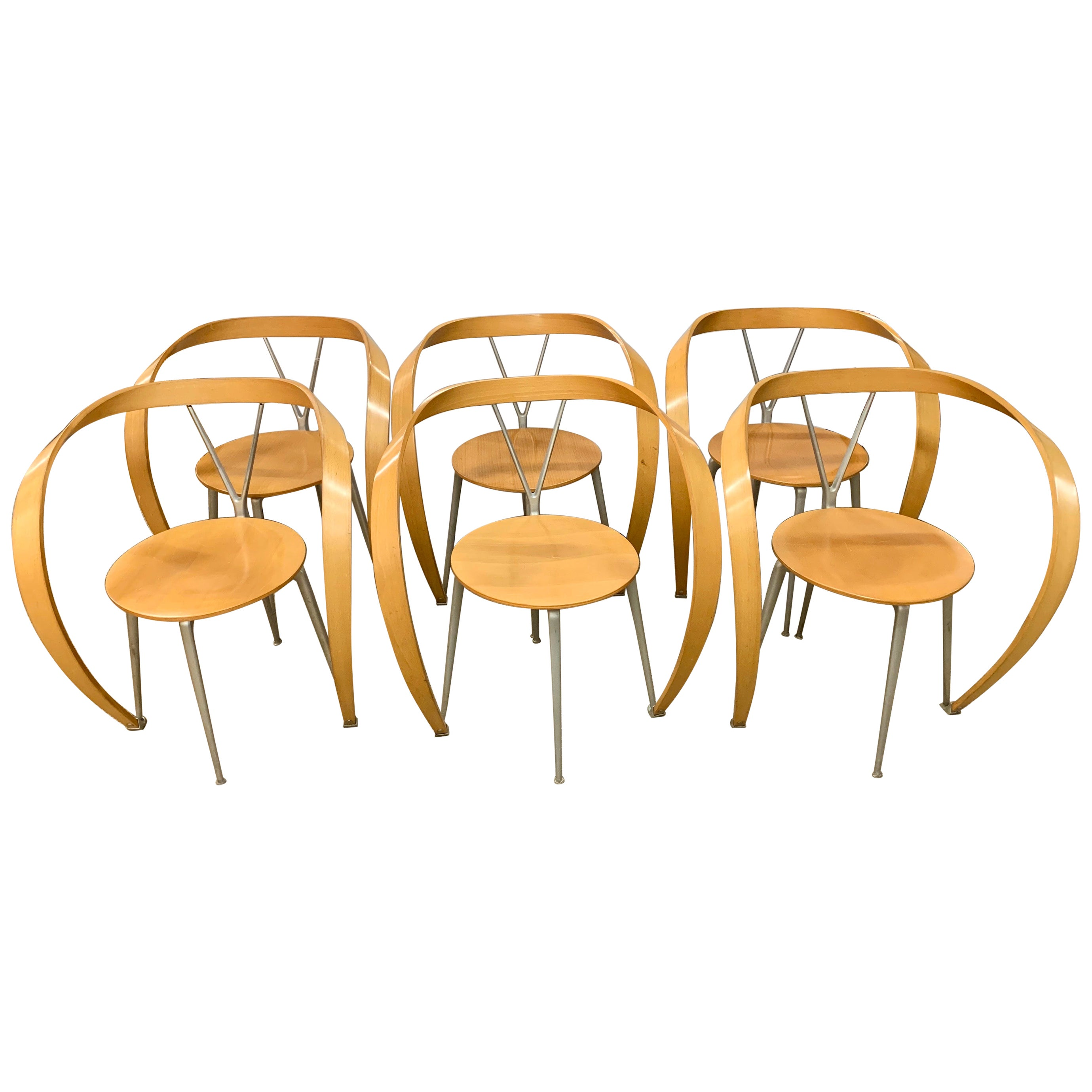 Cassina Set of Six Revers Chairs by Andrea Branzi Italy 1990s