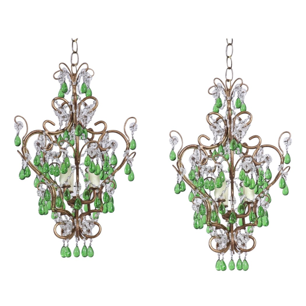 Pair of Italian Crystal Beaded Chandeliers with Green Drops