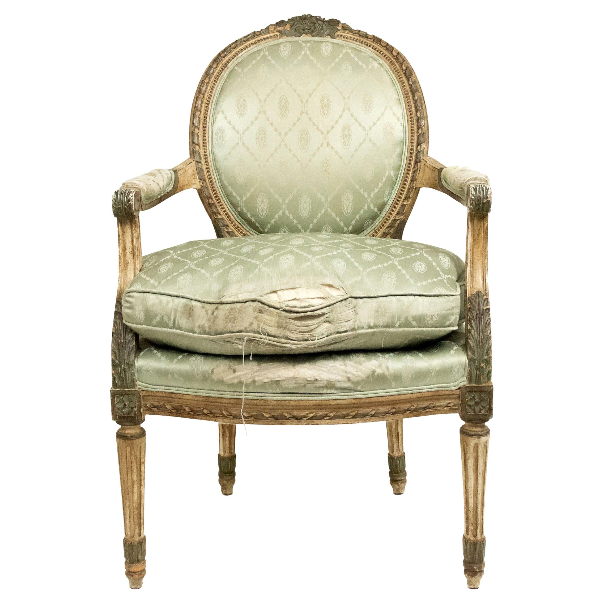 Pair of French Louis XVI Green Silk Armchairs
