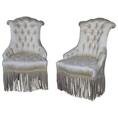 Pair of Tufted and Scrolled Slipper Chairs