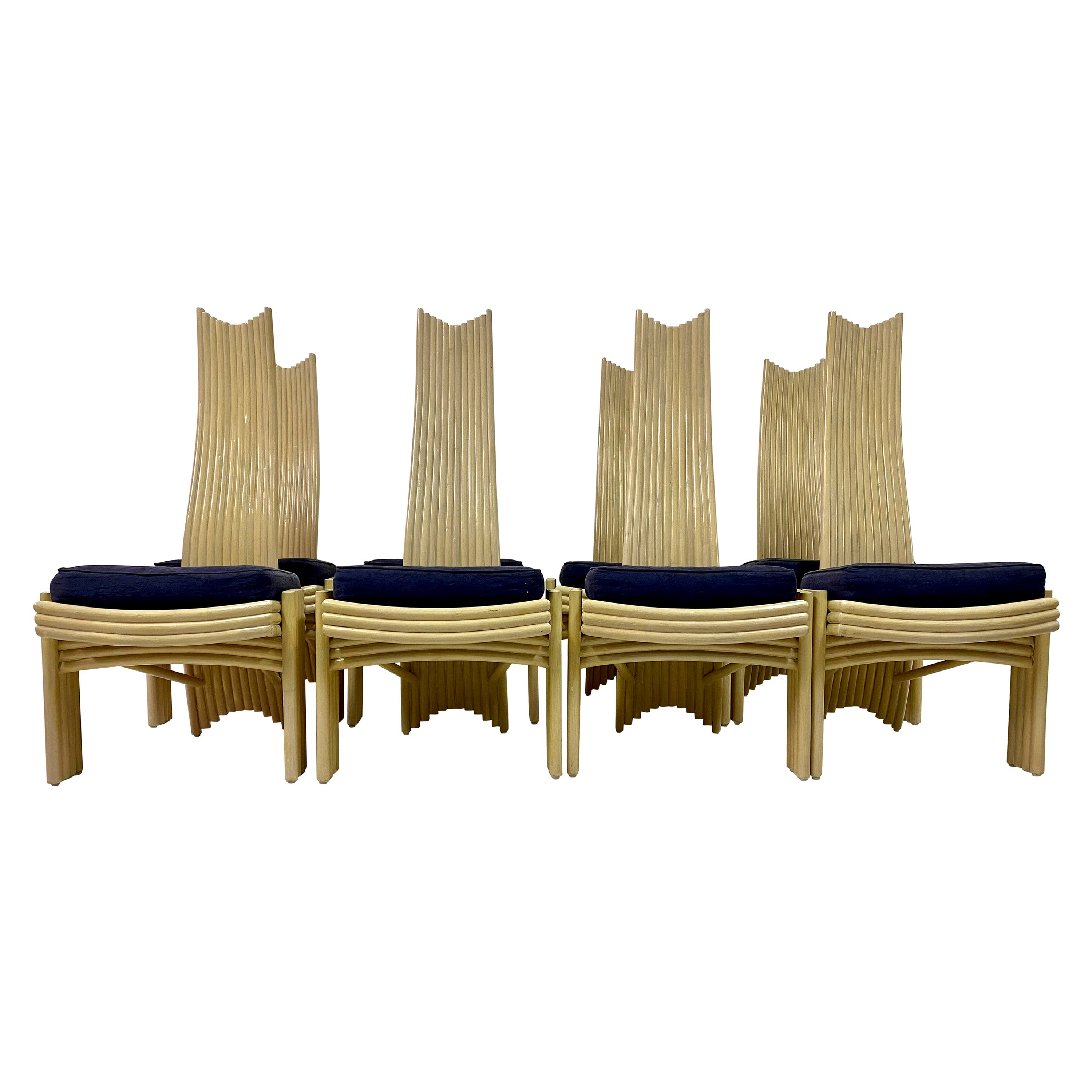 Vintage Set of Eight 1980s Bamboo Dining Chairs