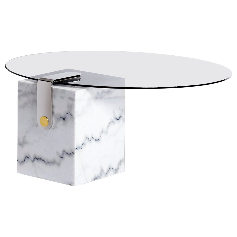 Marble, Glass and Brass, Marble Patch Round Coffee Table by Egg Designs