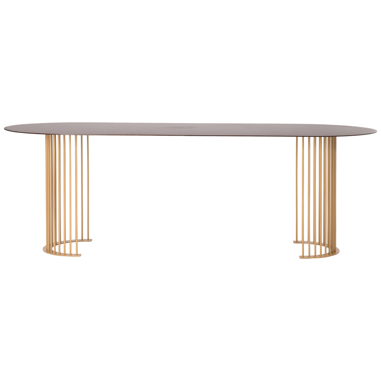 Ela Luxury Table in Cor-ten steel, Made in Italy
