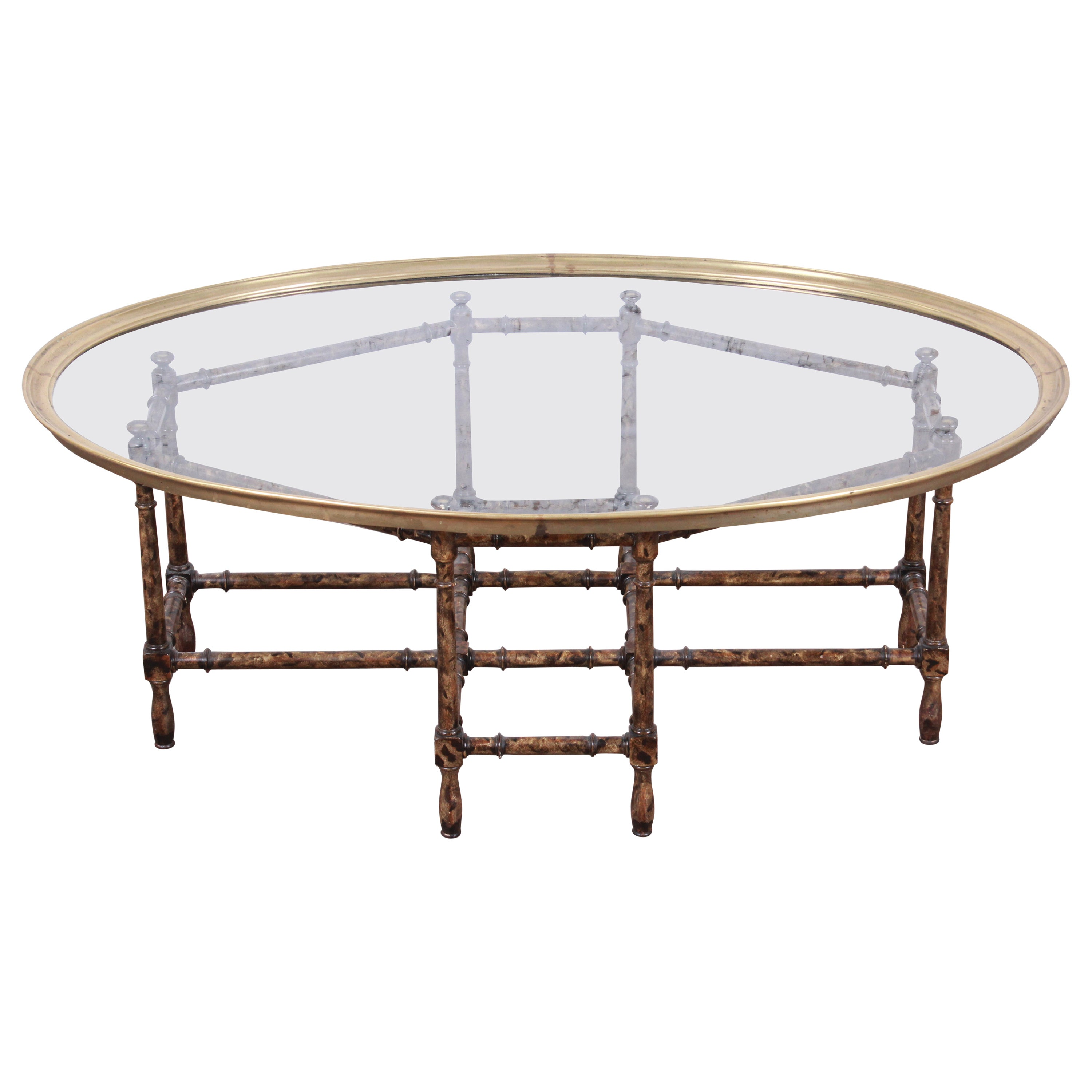 Baker Furniture Hollywood Regency Chinoiserie Faux Bamboo Cocktail Table, 1970s