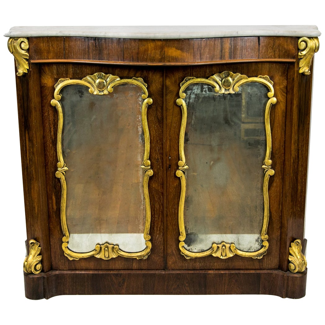 Serpentine Rosewood Marble Top Console