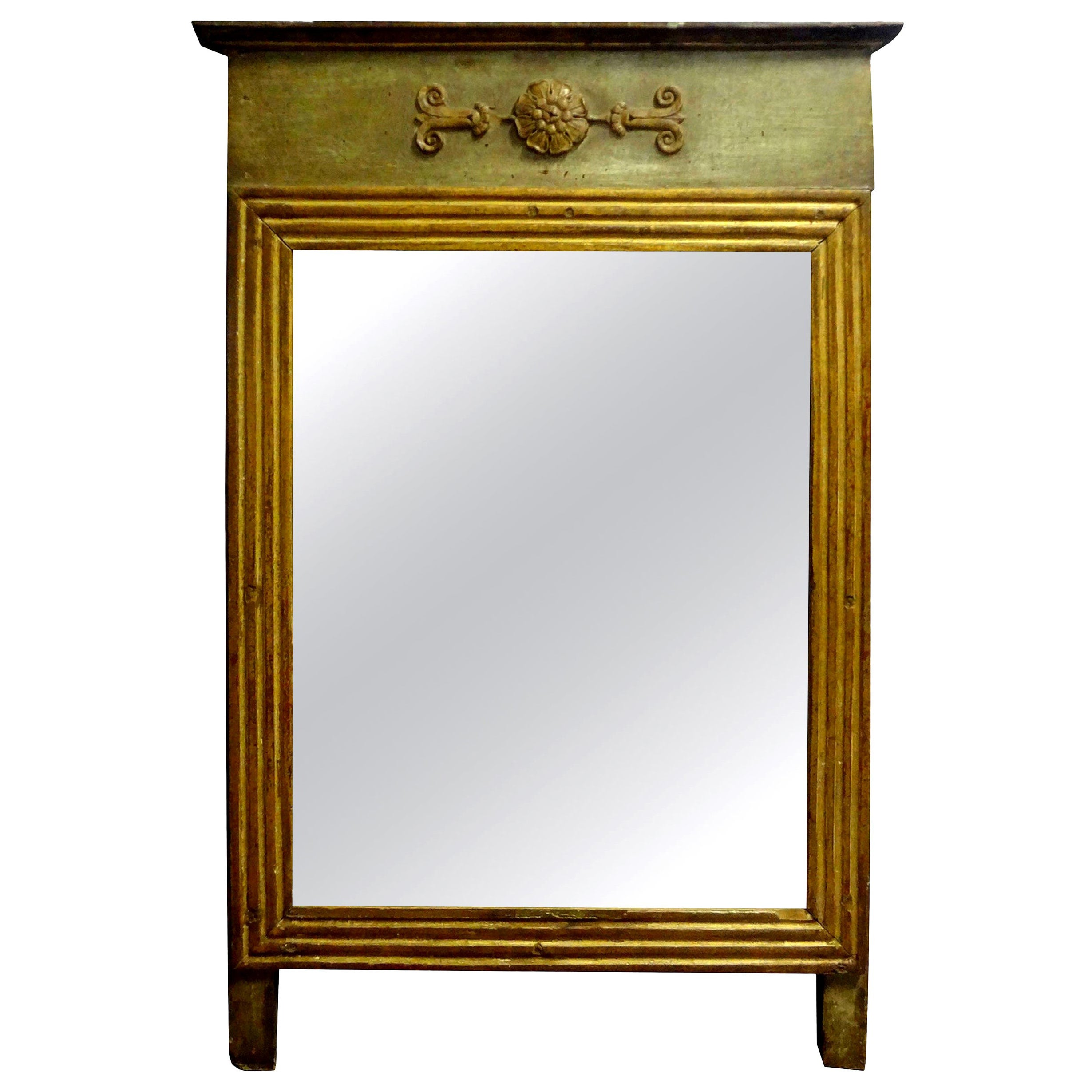 19th Century French Louis XVI Style Painted and Giltwood Mirror
