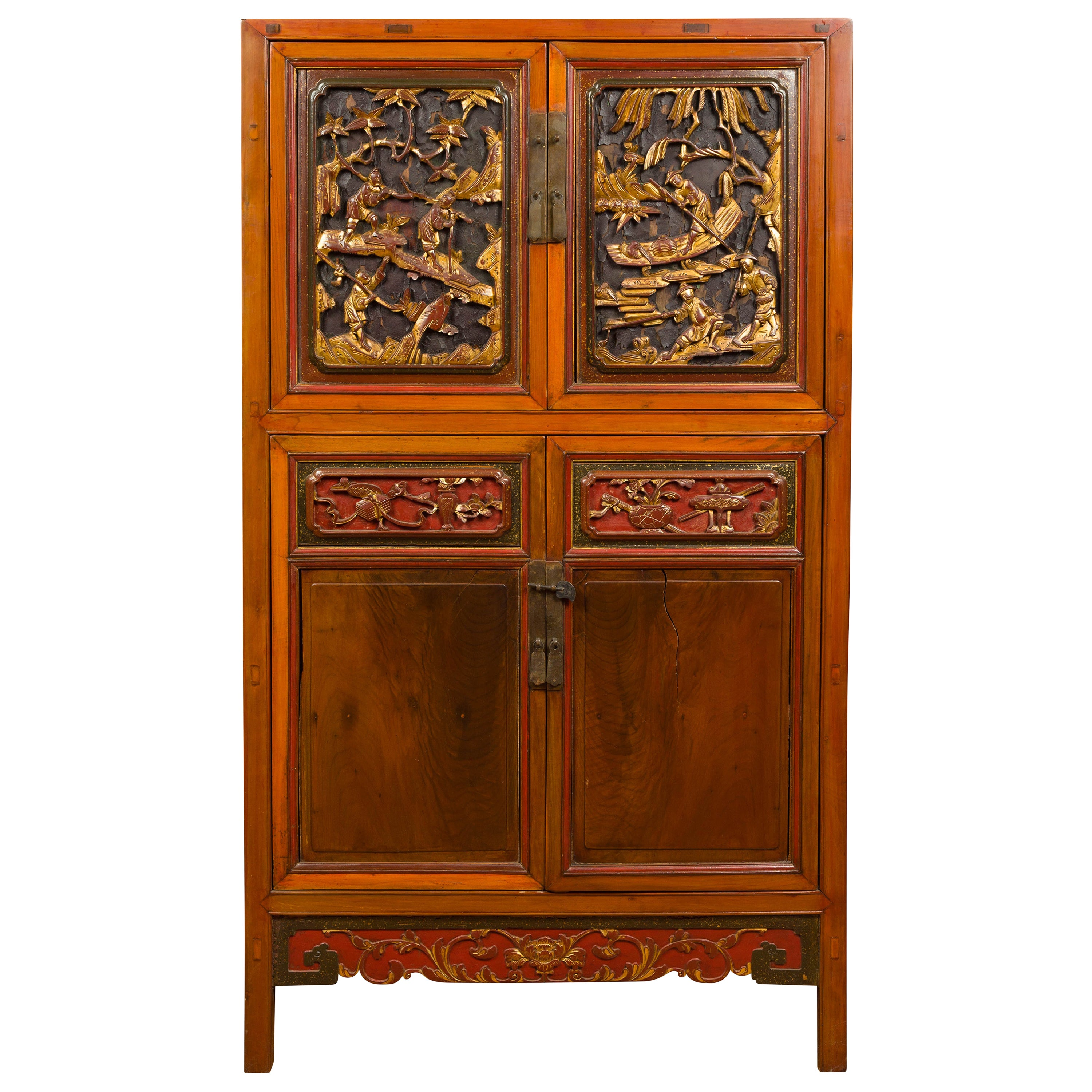 Chinese Ming Dynasty Style Cabinet with Doors, Drawers and Gilt Carved Motifs
