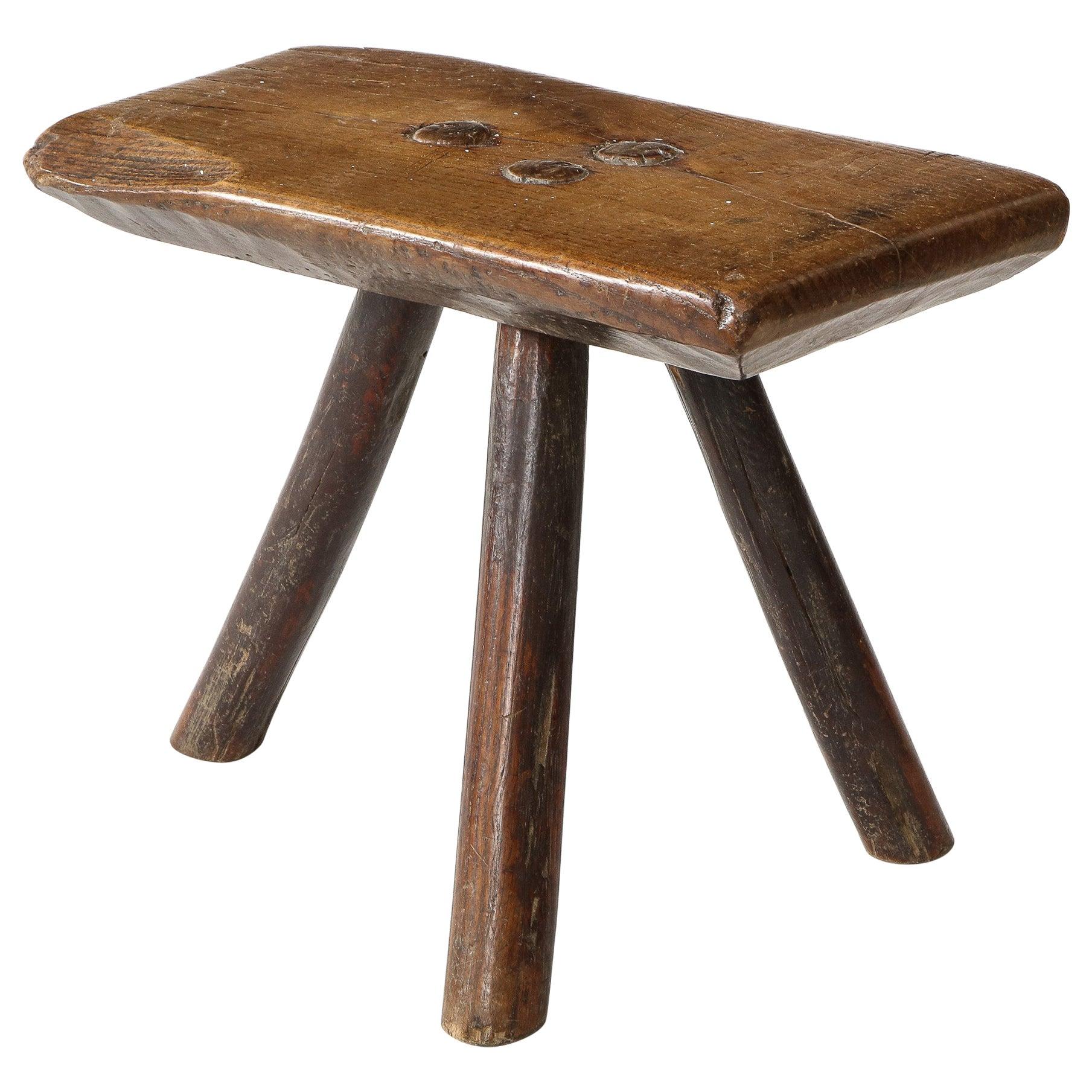 Rustic Wood Splayed Leg Tripodal Low Stool