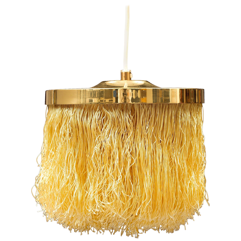 Hans-Agne Jakobsson Yellow Silk Fringe Pendant Brass Light, 1960s
