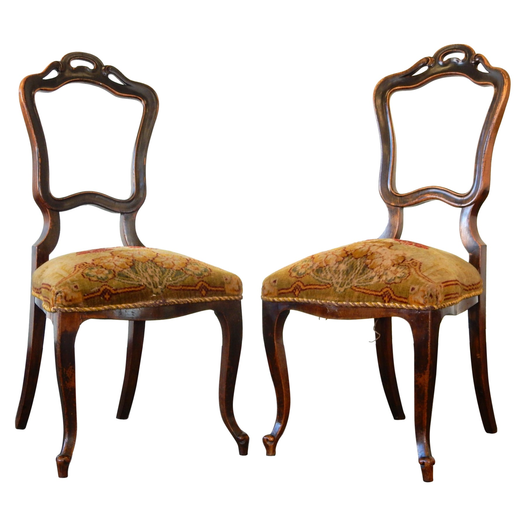 Queen Anne Balloon Side Chairs with Tapestry Cushion