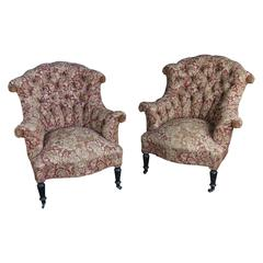 Pair of Tufted and Scrolled Back Chairs in Printed Velvet