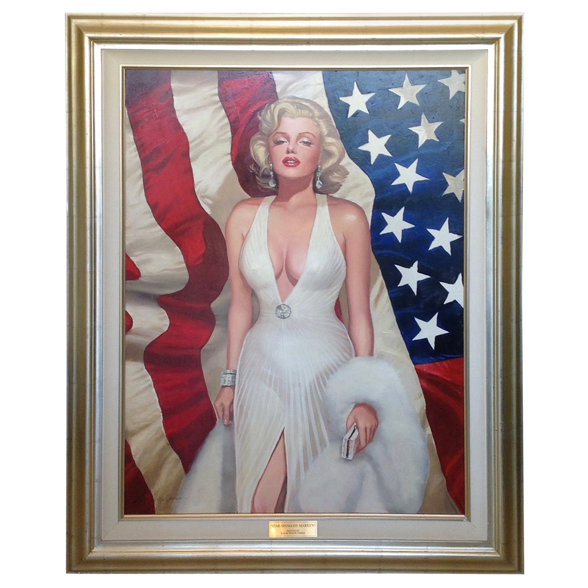 Nearly Life Size Oil Painting of Marilyn Monroe by Ralph Wolfe Cowan