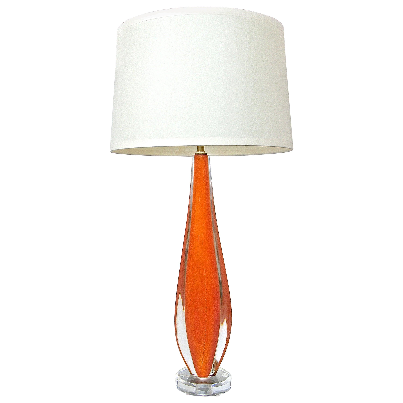 Flavio Poli Orange Murano Glass Table Lamp