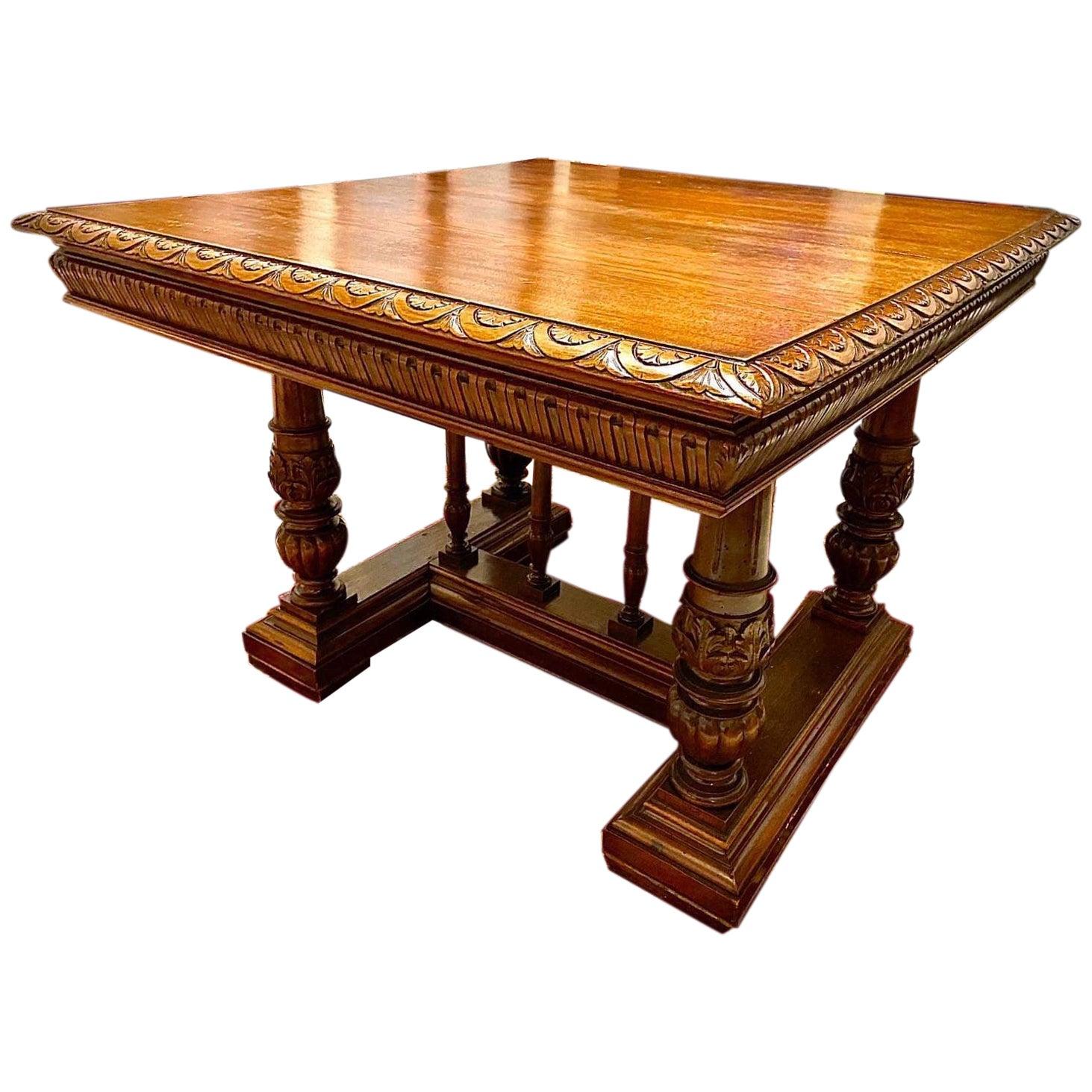 Italian Carved Walnut Wood Renaissance Style Dining Center Table, 19th Century