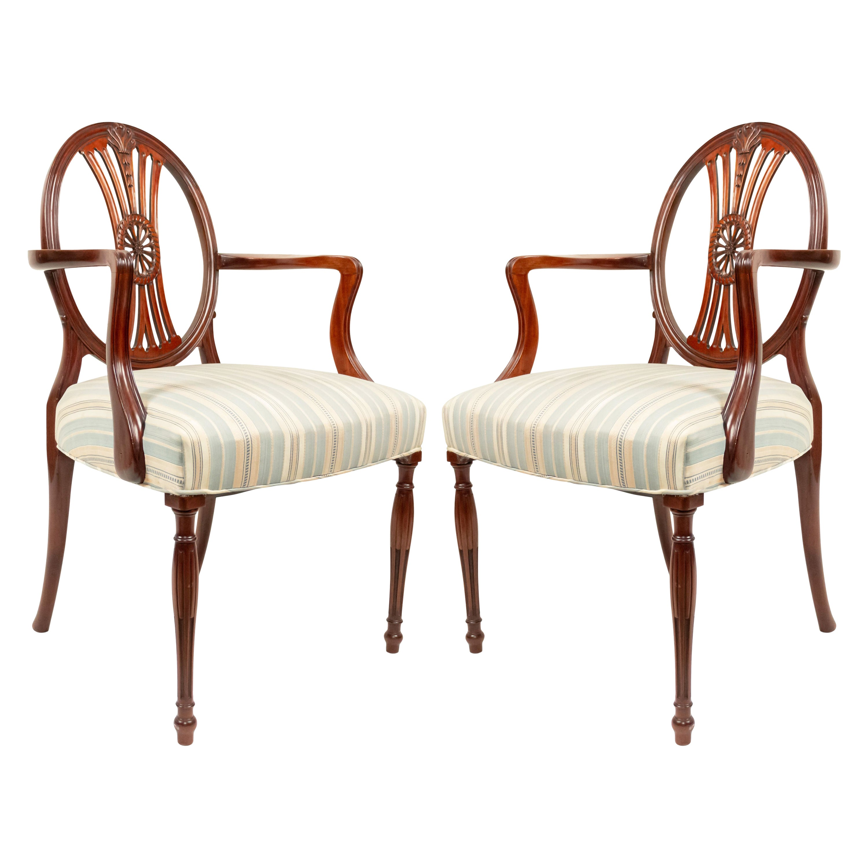 English Sheraton Mahogany Medallion Chairs