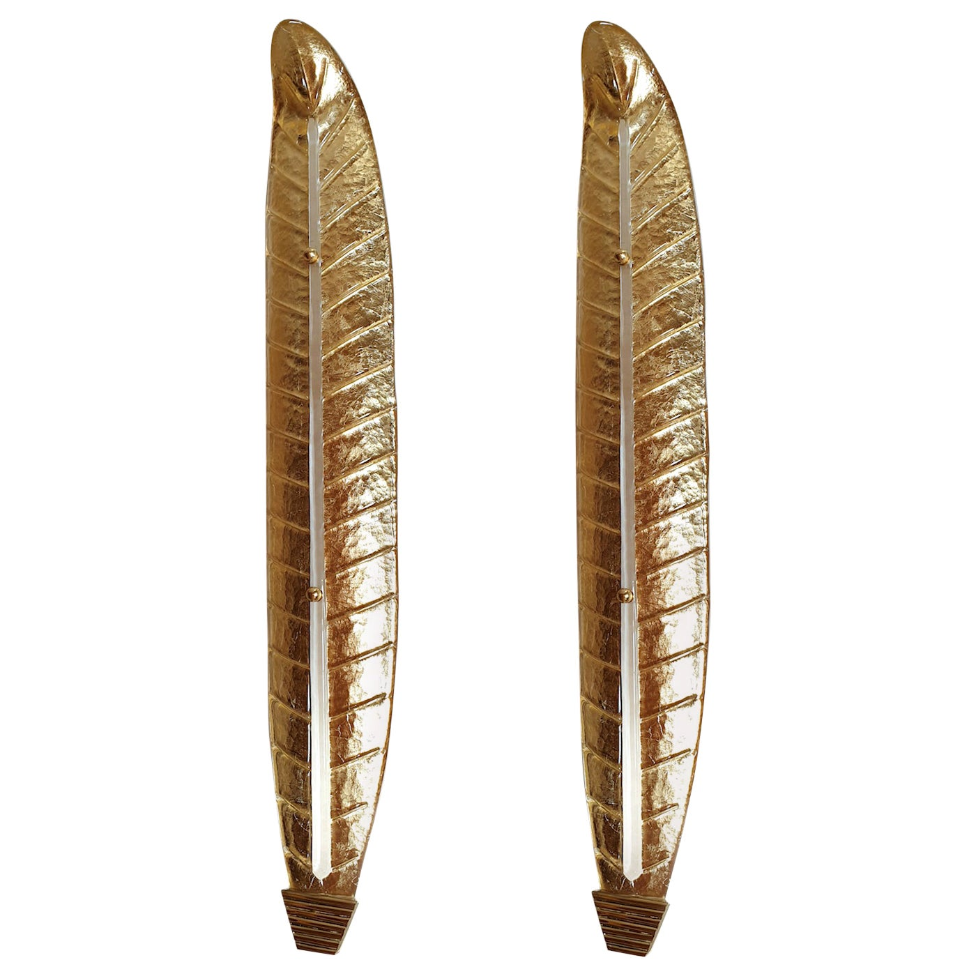 Two Large Mid-Century Modern Murano Glass Gold Leaf Sconces, Barovier Style 1970