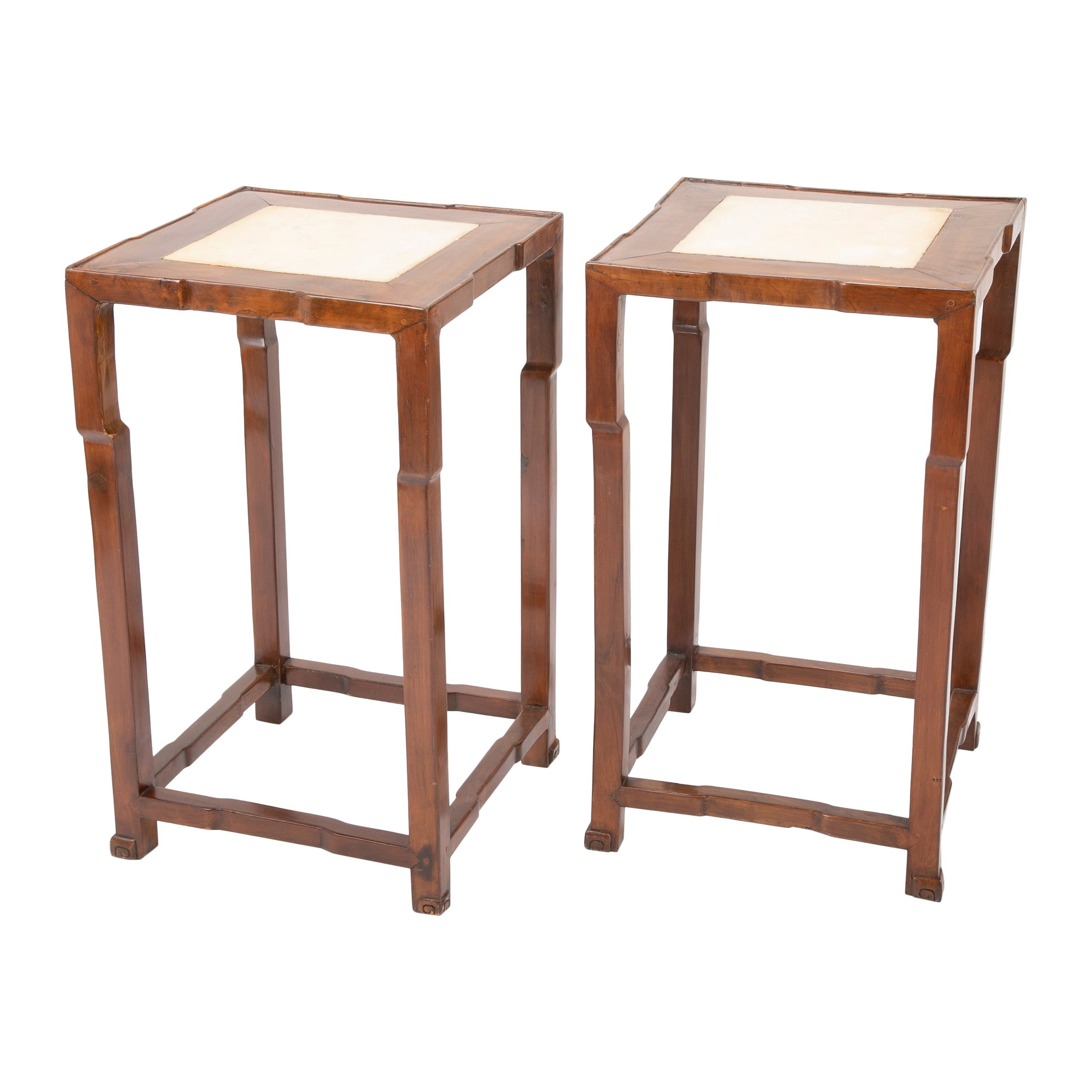 Pair of Chinese Elm Wood Side Tables with Marble Inlaid Tops