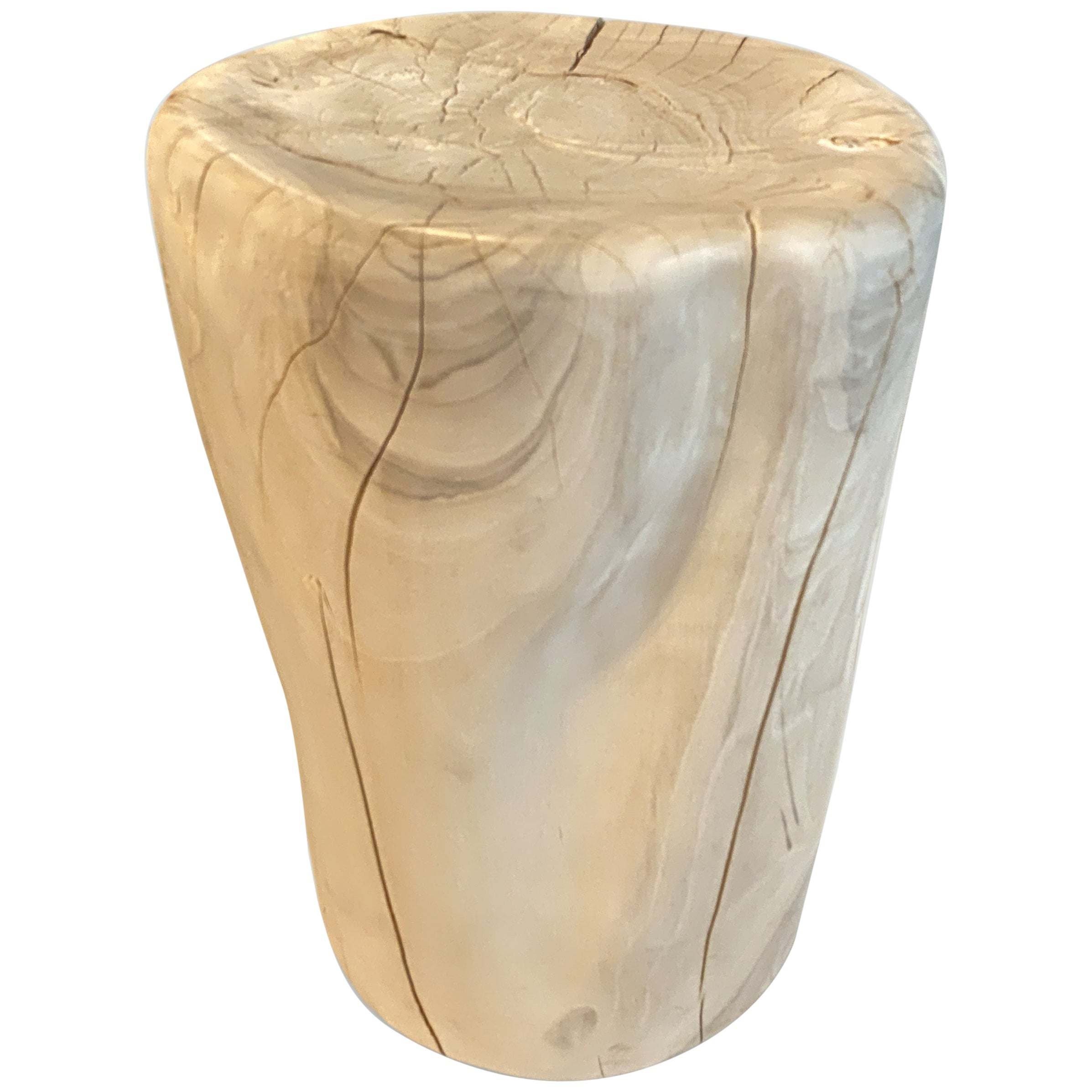 Andrianna Shamaris Bleached Teak Wood Side Table or Stool