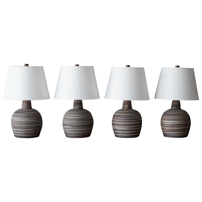 Jane & Gordon Martz, Table Lamps, Ceramic, Walnut, Linen Marshal Studios, 1950s