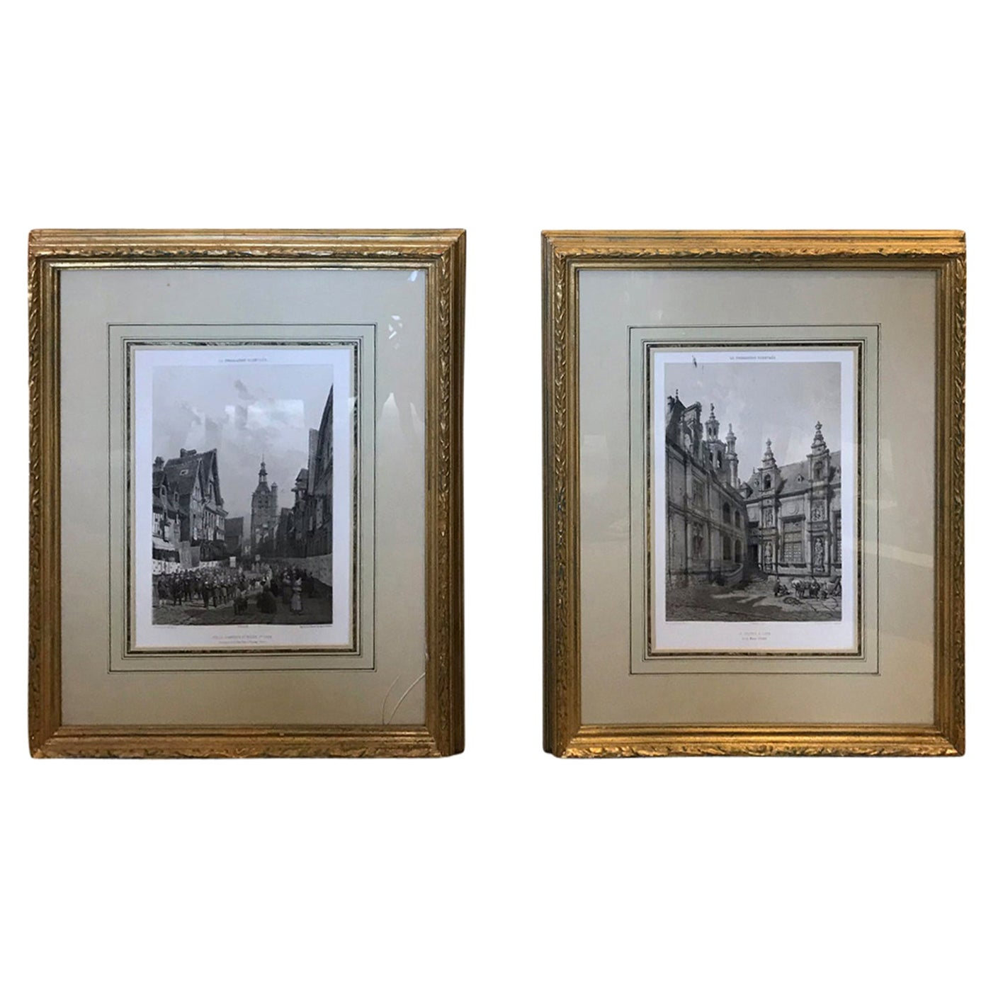 Pair of 19th-20th Century French Engravings of Normandy in Giltwood Frames