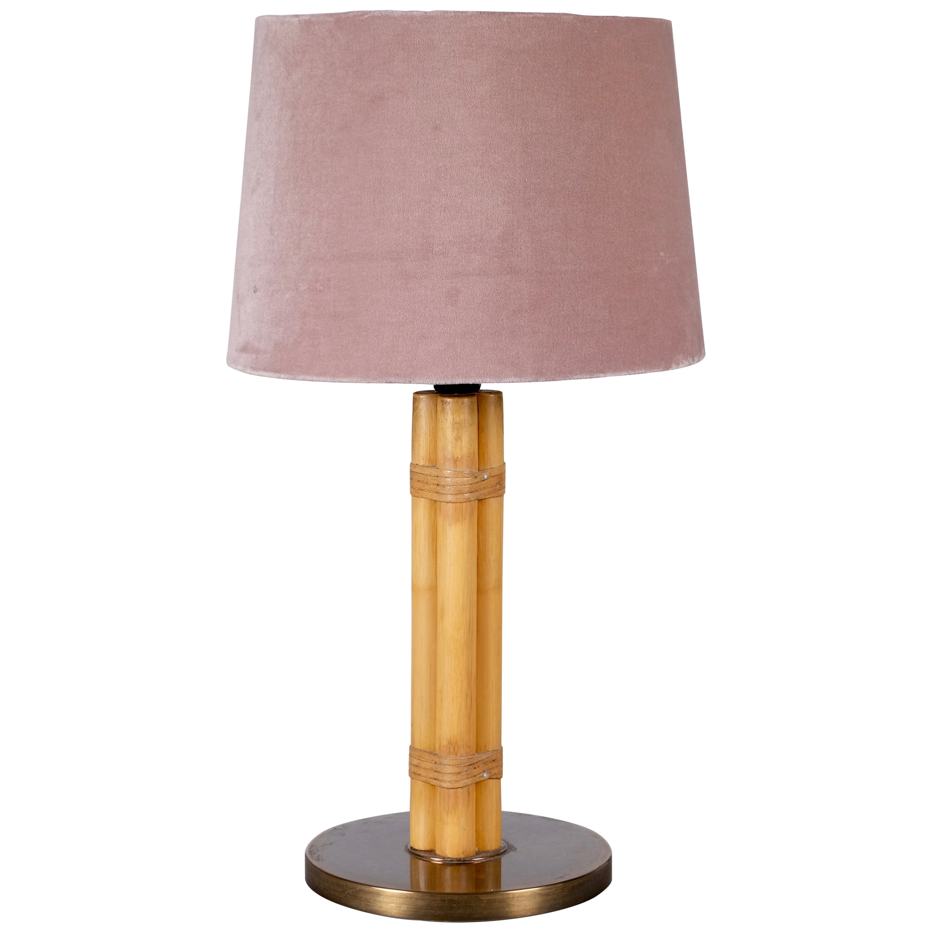 Swedish Brass and Bamboo Table Lamp by Bergboms, 1970s