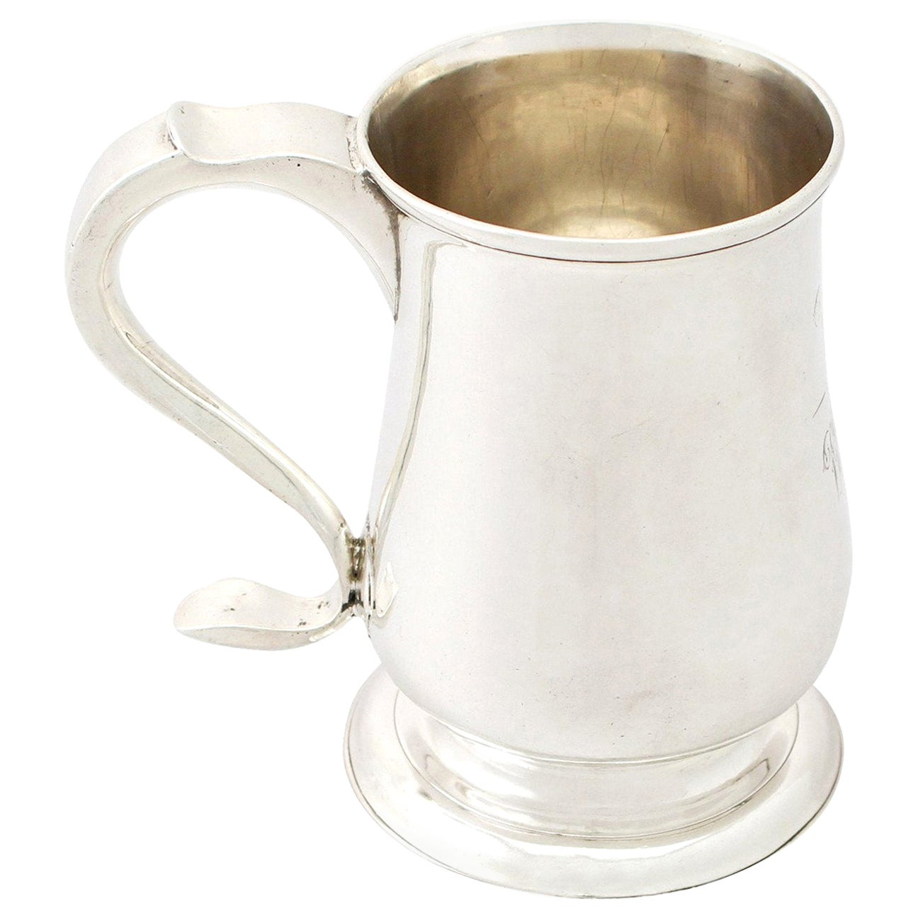 1780s Georgian Newcastle Sterling Silver Pint Mug
