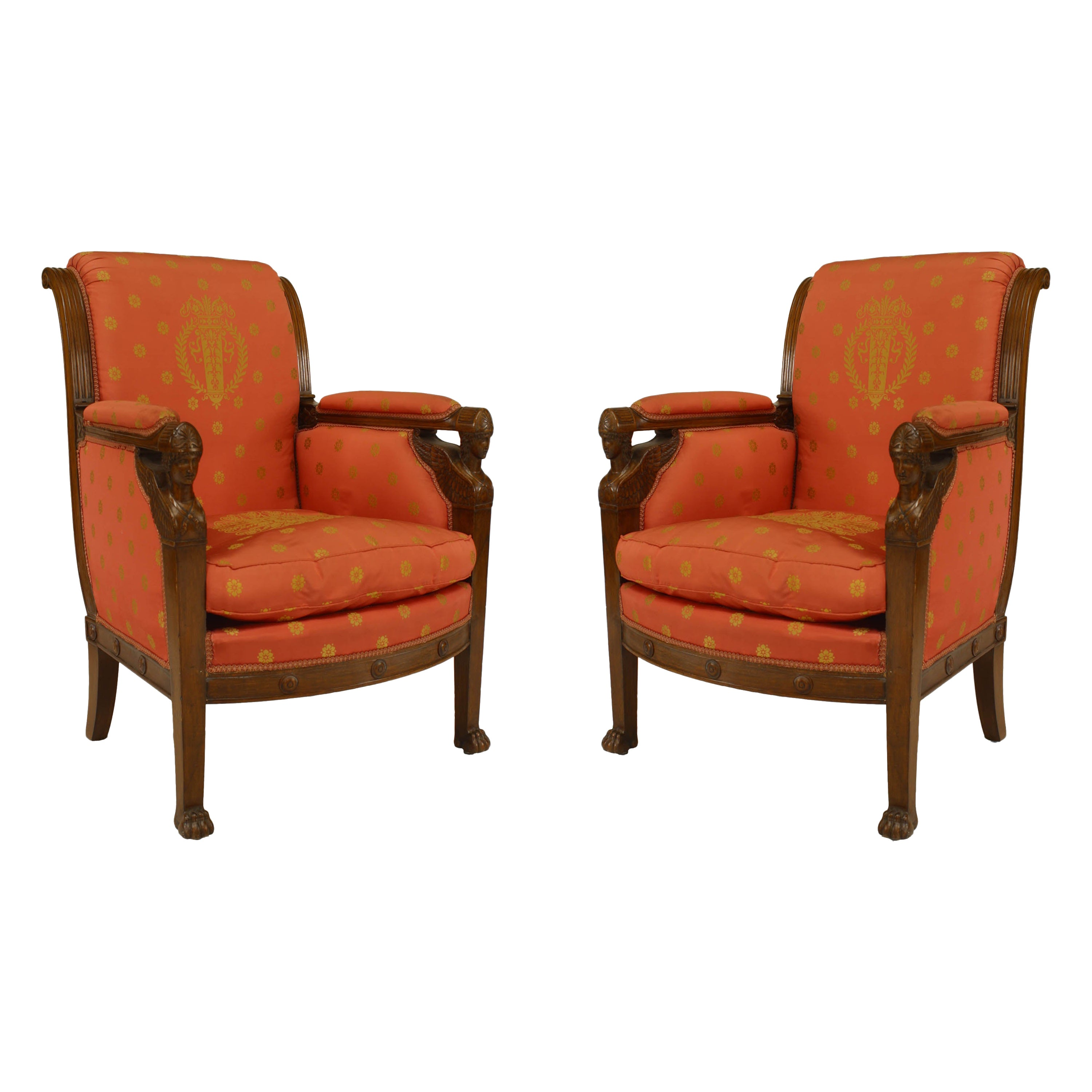 French Empire Silk Bergère Armchairs