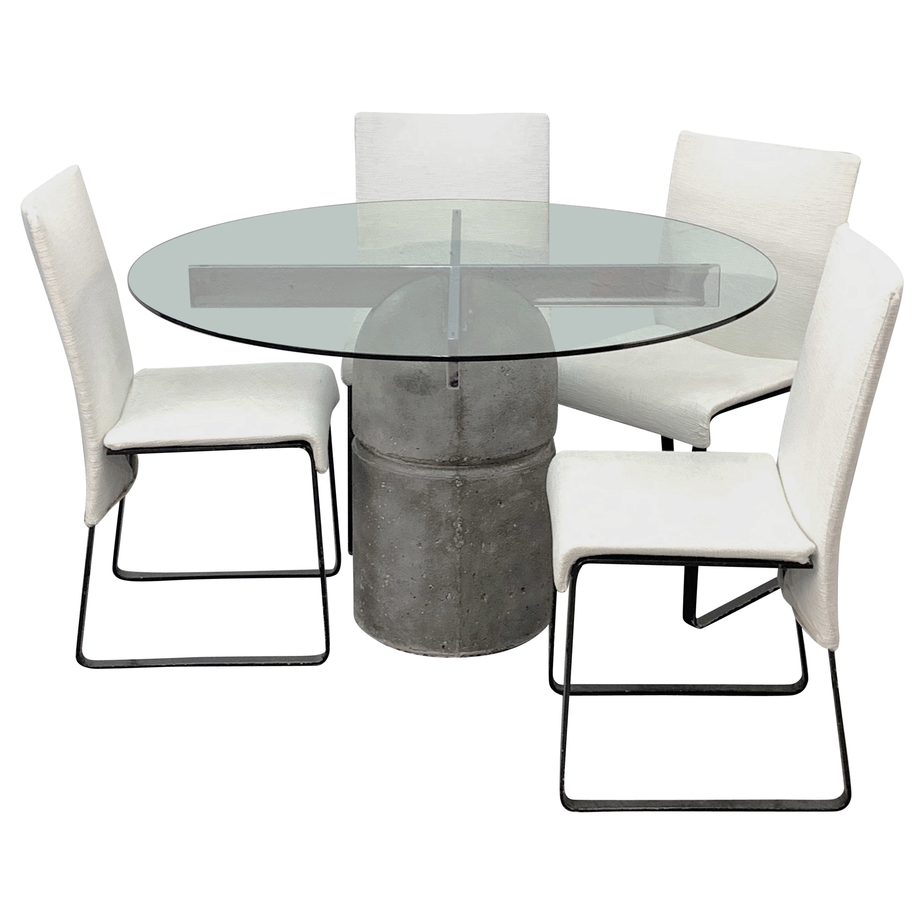 Midcentury Giovanni Offredi Paracarro Dining Table and Chairs for Saporiti, 1973