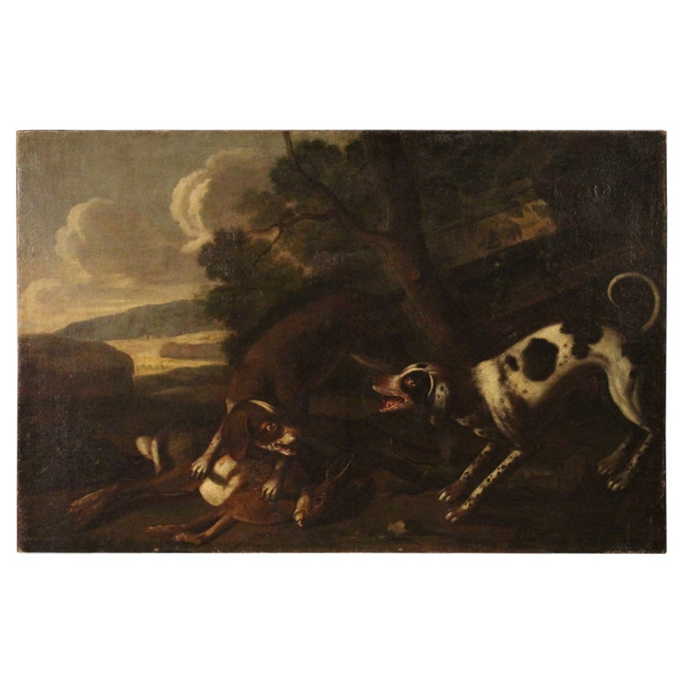 18th Century Oil on Canvas Italian Antique Painting Landscape with Hunting Scene