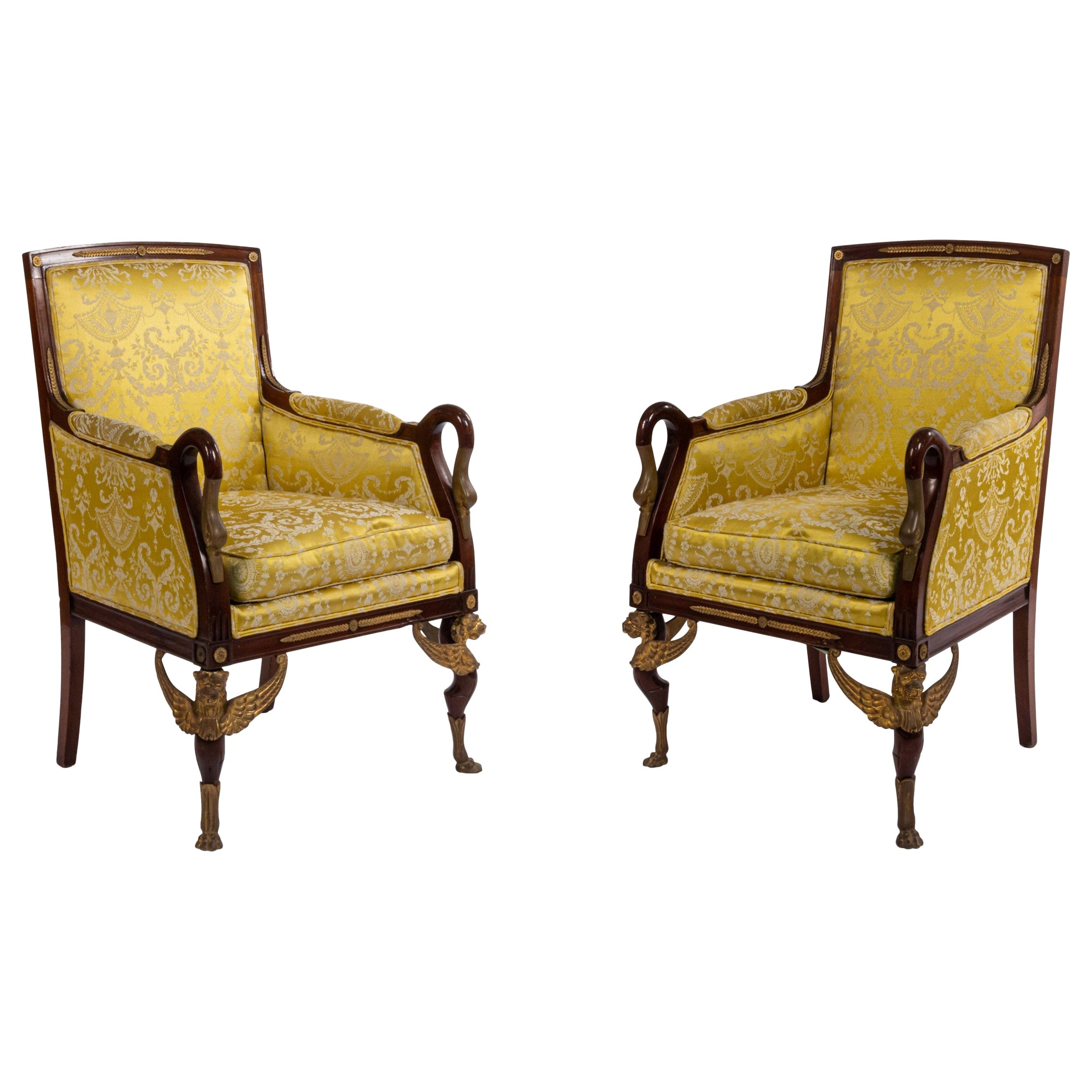 French Empire Gold Bergère Armchairs