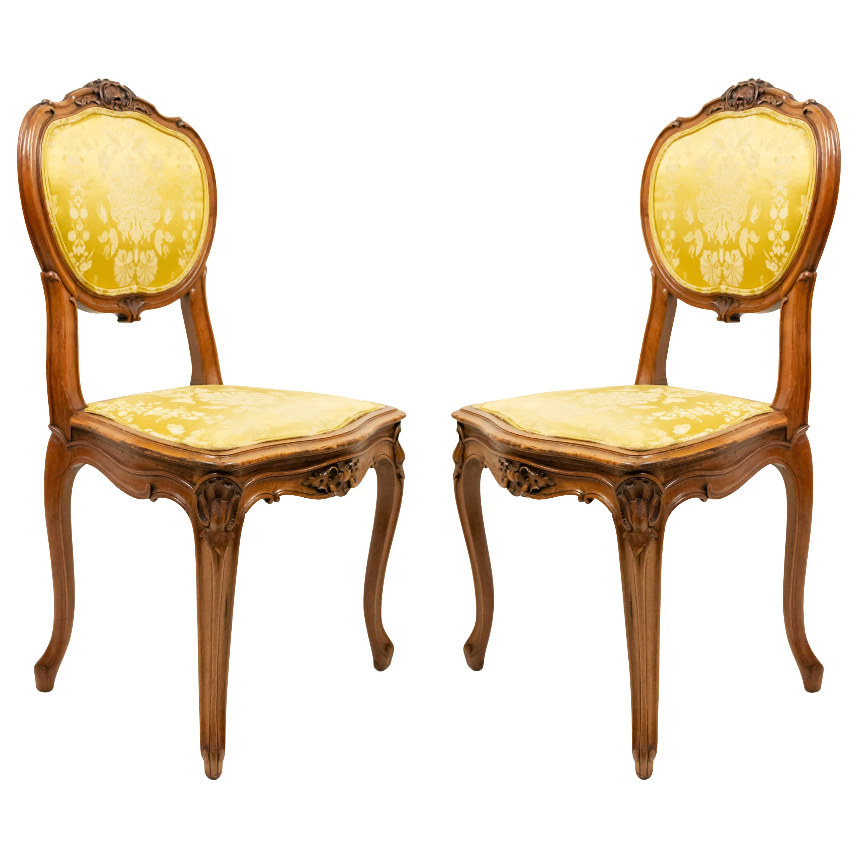 French Louis XV Gold Damask Side Chairs