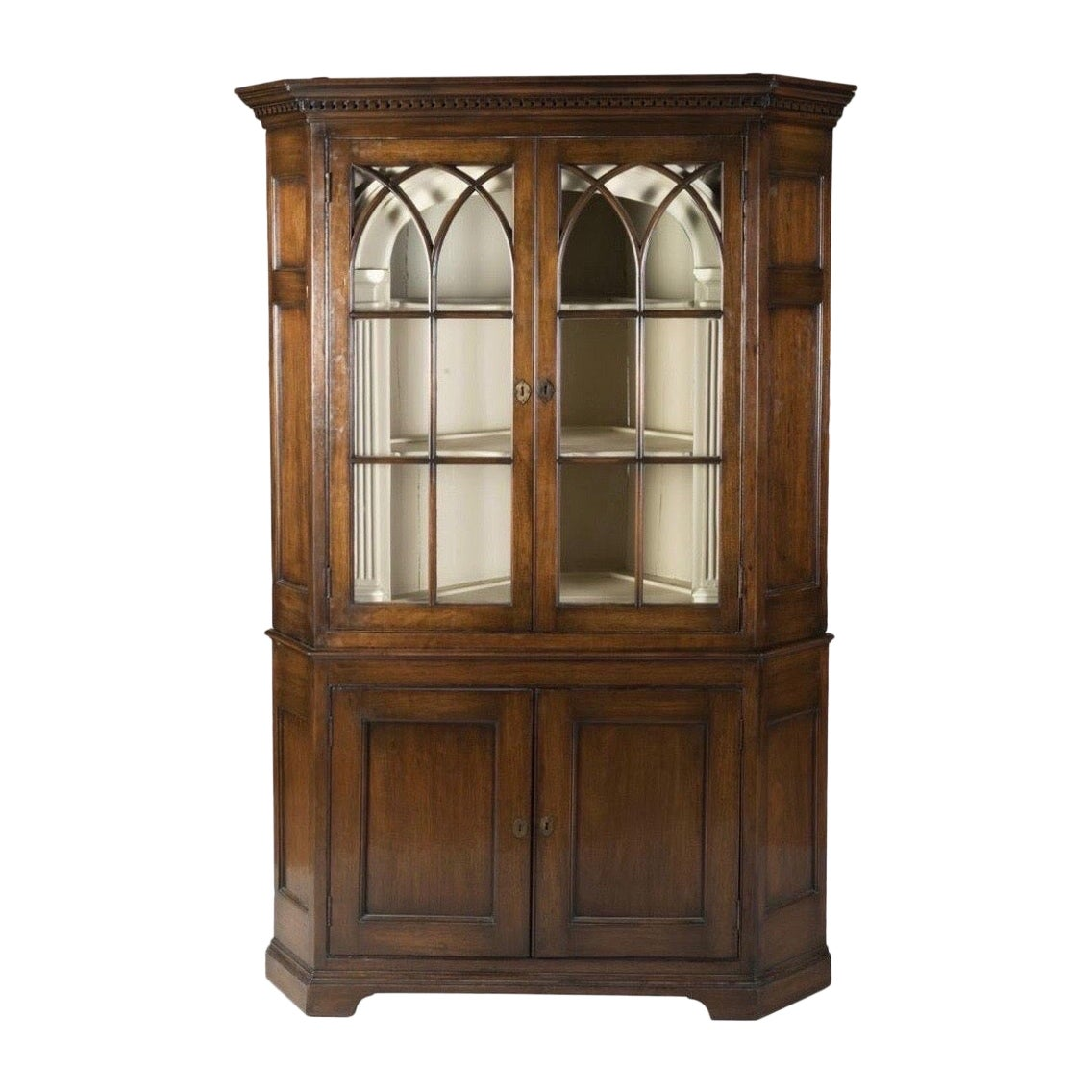 18th Century Chippendale Walnut Corner Cupboard