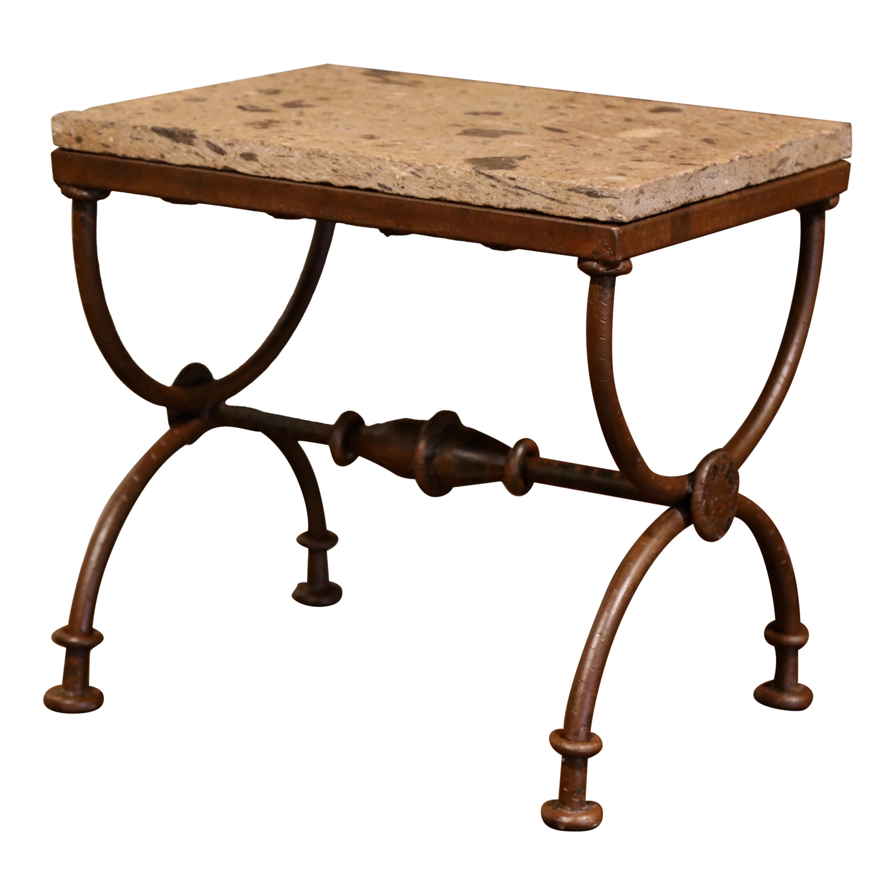 Vintage Charles X Dagobert Style Iron Occasional Side Table with Stone Top