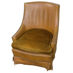French Leather Armchair with Brass Nailheads