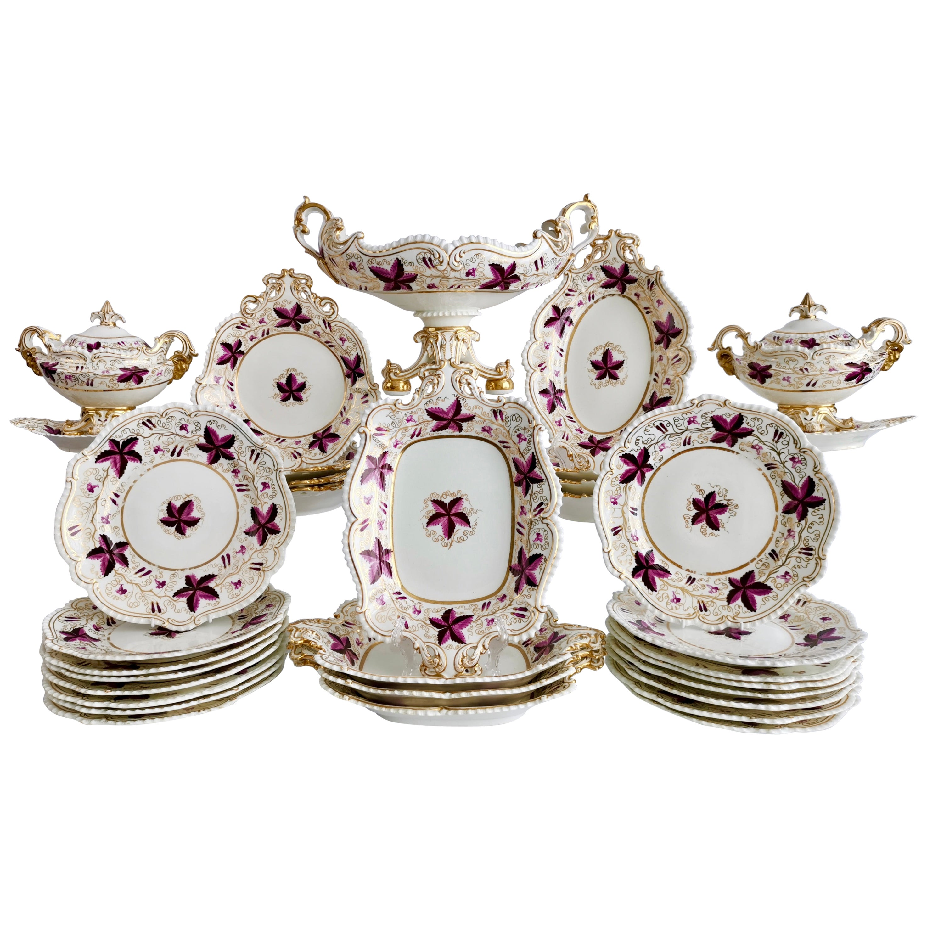 Coalport Porcelain Dessert Service, Purple Vines, Rams Heads, Regency, ca 1820