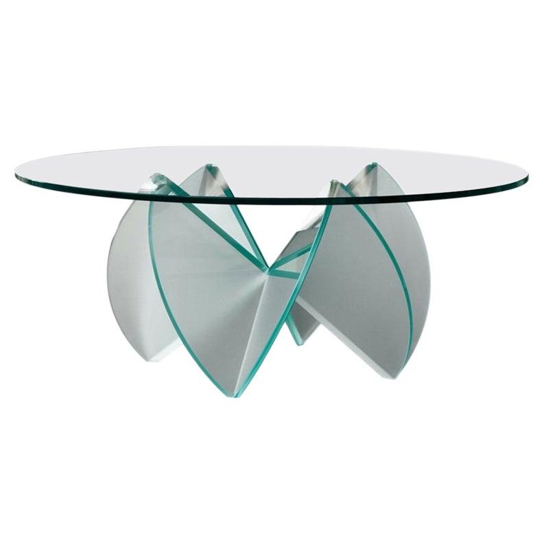 Rosa Del Deserto Round Glass Coffee Table, Designed by Lomazzi, Made in Italy